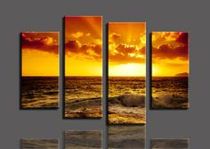 Golden sea http://walldecordeals.com/product/free-shopping-golden-sea-4-panelsset-hd-canvas-print-painting-artwork-hot-sell-modern-decorative-painting-of-living-room/