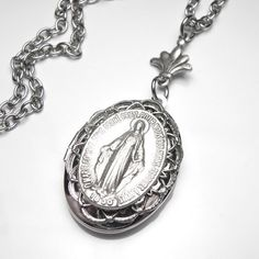 Items similar to Miraculous Medal Antique French Silver Holy Medal Filigree Locket Necklace, Catholic Medal, Catholic Gift, OOAK on Etsy Catholic Medals, Catholic Gifts, Catholic Art, Locket Necklace, Pendant Necklace, Jesus Mary And Joseph, Silver Lockets, Virgin Mary, Miraculous