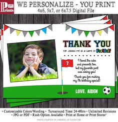 FootGolf Birthday Thank You Card - Soccer Golf Birthday Thank You Cards - Sports, Golf, Soccer by PuggyPrints on Etsy