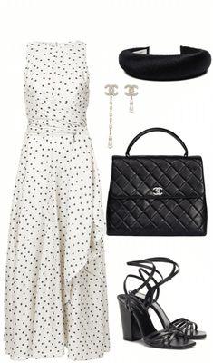 Lady-like #ladylike #whiteblackdress #polkadots #polkadotdress #dress #chanelhandbag #quiltedbag #quilted #blacksandals #blackheels #heels #chanelearrings #polyvore #shoplook