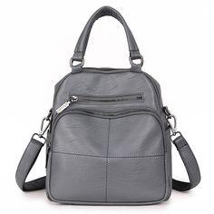 Sale 24% (51.99$) - Multifunction PU Leather Women Handbags Vintage Crossbody Bags Casual Backpack