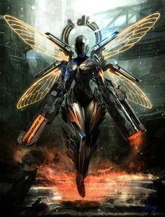 fantasy and science fiction High Fantasy, Sci Fi Fantasy, Cyberpunk Kunst, Arte Robot, Illustrator, Futuristic Armour, Futuristic Robot, Sci Fi Armor, Sci Fi Characters