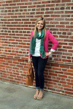 pink blazer + jcrew tillary