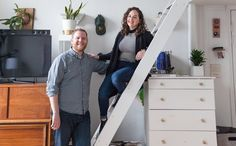 "Sarah and Dan describe the style of their studio apartment as ""Modern minimalist wannabe."""
