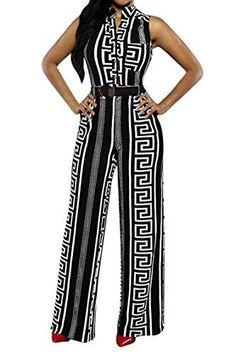 Tralounry Womens Sleeveless Straight Mid-Waist Britain Jumpsuit Long Pants