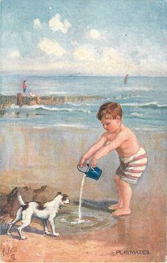"""""""Playmates"""" - Vintage postcard, c. Vintage Artwork, Vintage Prints, Vintage Ephemera, Vintage Cards, Vintage Pictures, Vintage Images, Pulp Fiction, Retro Poster, Beach Art"""