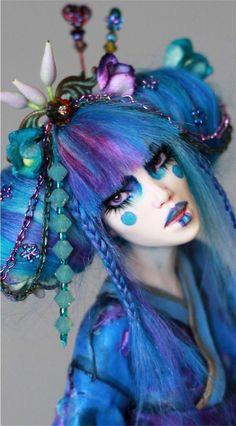 Pinwheel Garden Geisha OOAK art doll by Nicole West Fantasy Make Up, Fantasy Hair, Mode Inspiration, Makeup Inspiration, Make Up Art, How To Make, Avant Garde Hair, Maquillage Halloween, Costume Makeup