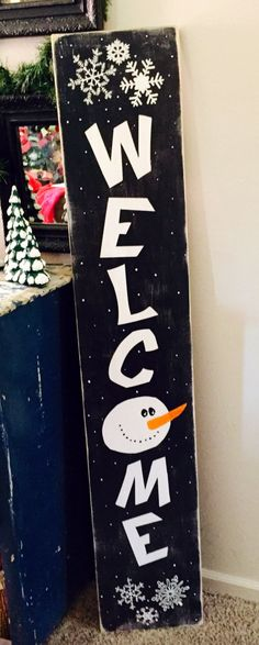 Welcome snowman, snowman wooden sign, front porch decor, Christmas decor, tall wooden sign, entry way, winter sign, snowman sign, primitive by RepurposedByStephens on Etsy