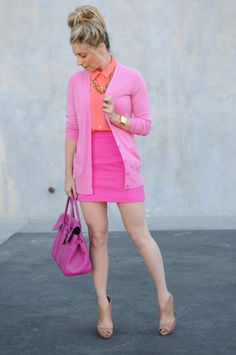 cupcakes & cashmere, pink outfit - love the coral and pink combo!