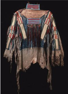 shirt with quill wrap horsehair strips. Crow or Nez Perce, Peabody Harvard ac
