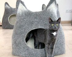 Pet bed - Cat bed - cat cave - cat house - eco-friendly handmade felted wool cat…