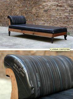Bike tube upholstery...better than pleather!