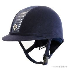 Charles Owen Navy Up-to-date styling fit and unparalleled safety make this the latest choice in equestrian protection headwear. Horse Riding Helmets, Horse Gear, Show Jumping, Country Outfits, Hat Sizes, Dressage, Black Silver, Navy, Leather