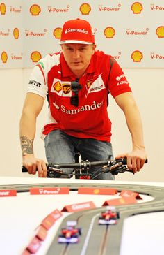 At a #Shell event where Kimi Raikkonen and Fernando Alonso have been asked to power slot racing cars by pedalling bicycles.