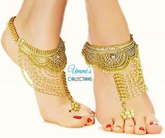 Golden Indian Pag Pan Footwear Anklets Jewelry