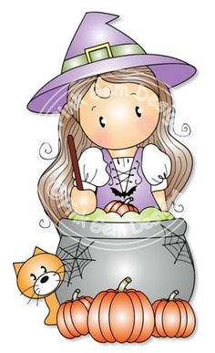 Digital (Digi) Chloe with Cauldron. Halloween