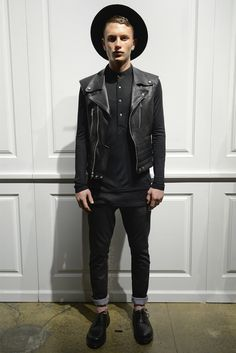 Tops [Shirt] (black, buttons, long sleeves) Outerwear [Jacket] (leather, moto) Jeans (black, denim, skinny, cuffed) Oxfords (black, leather) Accessories [Hat] (round brim, black)