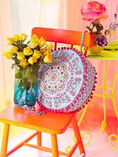 Accessorize Fluoro Paisley Embroidered Filled Round Cushion   very.co.uk