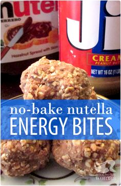No-Bake NUTELLA Energy Bites - Just 3 Main Ingredients (PB, Nutella, Oats) with optional ingredients