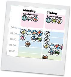 På denna sida kan du lätt och enkelt göra personliga scheman som tydliggör dagens innehåll för elever/barn i behov av struktur. Det enda som behövs är en dator och en färgskrivare.