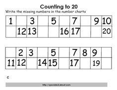 math activities for counting to twenty - Free Activity Sheets For Kindergarten