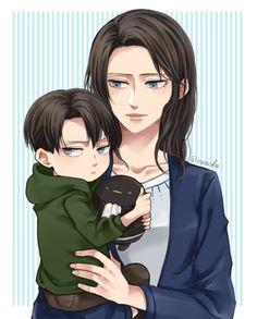 Levi and his moma Armin, Levi Mikasa, Levi And Erwin, Anime Chibi, Fanarts Anime, Manga Anime, Anime Art, Ereri, Levihan