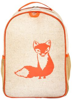 The Grade School Backpack fits kids 6-11 years. It has ample room for large binders, gym clothes and books with room to spare. Laminated linen exterior with a nylon lined interior and 2 side mesh bottle pockets. A chest clip keeps the bag securely on while skipping, jumping, running, or any other high energy activity.