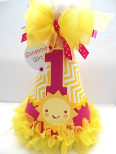 Hot Pink Sunshine Girl - Hot Pink and Yellow Chevron - You Are My Sunshine Birthday Party Hat - Personalized via Etsy