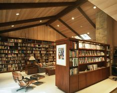 Wish I had room for such a home library. contemporary home office by Ron Yeo, FAIA Architect Home Library Design, Attic Design, Home Office Design, House Design, Library Ideas, Attic Apartment, Attic Rooms, Attic Bathroom, Attic Playroom