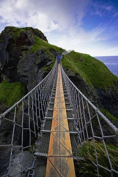 Rope Bridge, Antrim, Ireland.. The photo makes me giddy, I can just imagine myself trying to walk across that ..