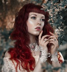 Vintage fantasy redhair ginger girl Long hair Fairy Elven