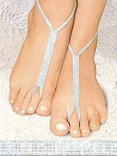 Nyoshoos Barefoot Sandals 02- White Wedding $19.95