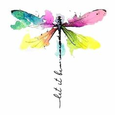 Watercolor Dragonfly Tattoo, Dragonfly Painting, Dragonfly Tattoo Design, Dragonfly Art, Abstract Watercolor, Watercolor And Ink, Watercolor Flowers, Watercolor Paintings, Tattoo Designs