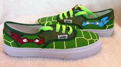 Some awesome ninja turtle vans. Ninja Turtle Van, Ninja Turtle Party, Custom Vans, Custom Shoes, Sock Shoes, Vans Shoes, Crazy Shoes, Me Too Shoes, Vans Off The Wall