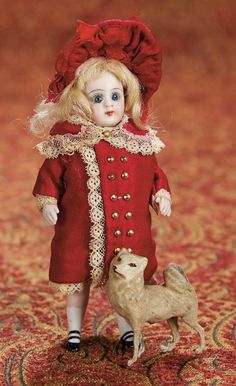 Home At Last - Antique Doll and Dollhouses: 219 Pretty German All-Bisque Miniature with Little Dog