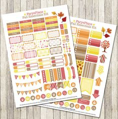 NEW lower price! Fall leaves printable planner stickers for Erin Condren Lifeplanner, Filofax, Plum Planner, scrapbooking / Instant download