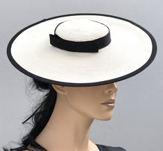 Kentucky Derby Hat, Black and White Boater Hat, Wo Black And White Fascinators, Black And White Hats, Boater Hat, Wide-brim Hat, Women's Hats, Wedding Hats For Guests, Kate Middleton Hats, Fascinator Hats, Headpiece