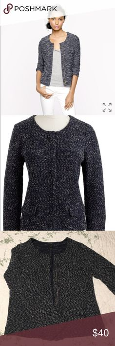Micro tweed jacket in navy a work or weekend-perfect jacket rendered in a soft cotton-blend micro-tweed that we developed to be incredibly lightweight with a hint of flattering stretch. Tailored detailing like a close fit and a hidden two-way zip combines with the easy knit fabric to create a versatile piece we're wearing with high heels and dresses on Monday and jeans and flats for weekend brunch. True to size, Cotton/poly with a hint of stretch. Tailored for a fitted look, Body length…