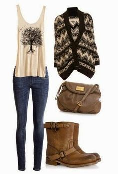 Dark blue jeans. Tank with a tree on it. Black and dark cream sweater. Brown purse and shoes.