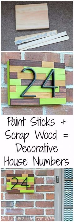 DIY House Numbers - House Number Plaque From Paint Sticks And Scrap Wood - DIY Numbers To Put In Front Yard and At Front Door - Architectural Numbers and Creative Do It Yourself Projects for Making House Numbers - Easy Step by Step Tutorials and Project Ideas for Home Improvement on A Budget http://diyjoy.com/diy-house-numbers #diywoodprojectsforkids