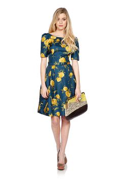 yellow roses teal dress