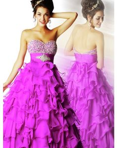 Empire Strapless A-Line Ruffled Chiffon Long Prom Dresses