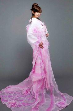 An ultra modern uchikake, or wedding kimono