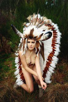 MADE TO ORDER Bull horn feather headdress Woodland fairy nymph goddess headpiece gaga steampunk burlesque costume. $879.00, via Etsy.