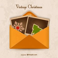 Vintage Envelope for Christmas Free Vector