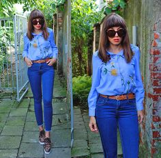 seventies style outfit, embroidery shirt, high waisted jeans and leopard printed shoes: http://jointyicroissanty.blogspot.com/2017/09/leopard-prints-and-embroidery.html