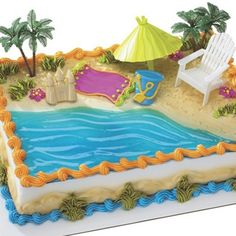 beach theme cakes | Beach Chair and Umbrella Cake Kit, FREE shipping offer, 50% off ...
