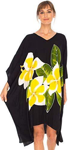 596500ab6744c Buy SHU-SHI Women Floral Poncho Kaftan Dresses Beach Swim Cover Up Short  Caftan online