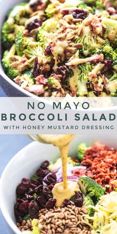 Best easy healthy Broccoli Salad No Mayo recipe packed with crispy broccoli bacon onion dried cranberries and crunchy sunflower seeds and tossed with a light honey mustard dressing Easy side dish recipe # Best Broccoli Salad Recipe, Healthy Broccoli Salad, Pasta Salad Recipes, Healthy Salad Recipes, Paleo Recipes, Brocolli Salad, Spinach Salad, Broccoli Slaw Recipes, Summer Salad Recipes