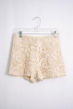 White lace shorts. Adorable!